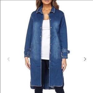 Judy Blue Denim Snap Trench Coat Jacket Medium